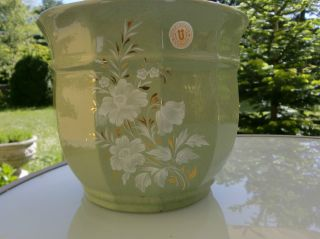 Übelacker Keramik Blumentopf Nr.  234/19 Blumen Übertopf Mint/gold/weiß Bild
