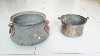 2x Wunderschöne Antike Feuertopf Kessel Kochtopf Feuerkessel Seltenheit Bild