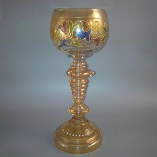 Antiker Jugendstil Historismus Theresienthal Weinrömer Wein - Glas Römer Emaille Bild