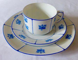 3 Tlg.  Jugendstil - Kaffeegedeck Fraureuth 1899 - 1926 Weiss Blau Top Bild