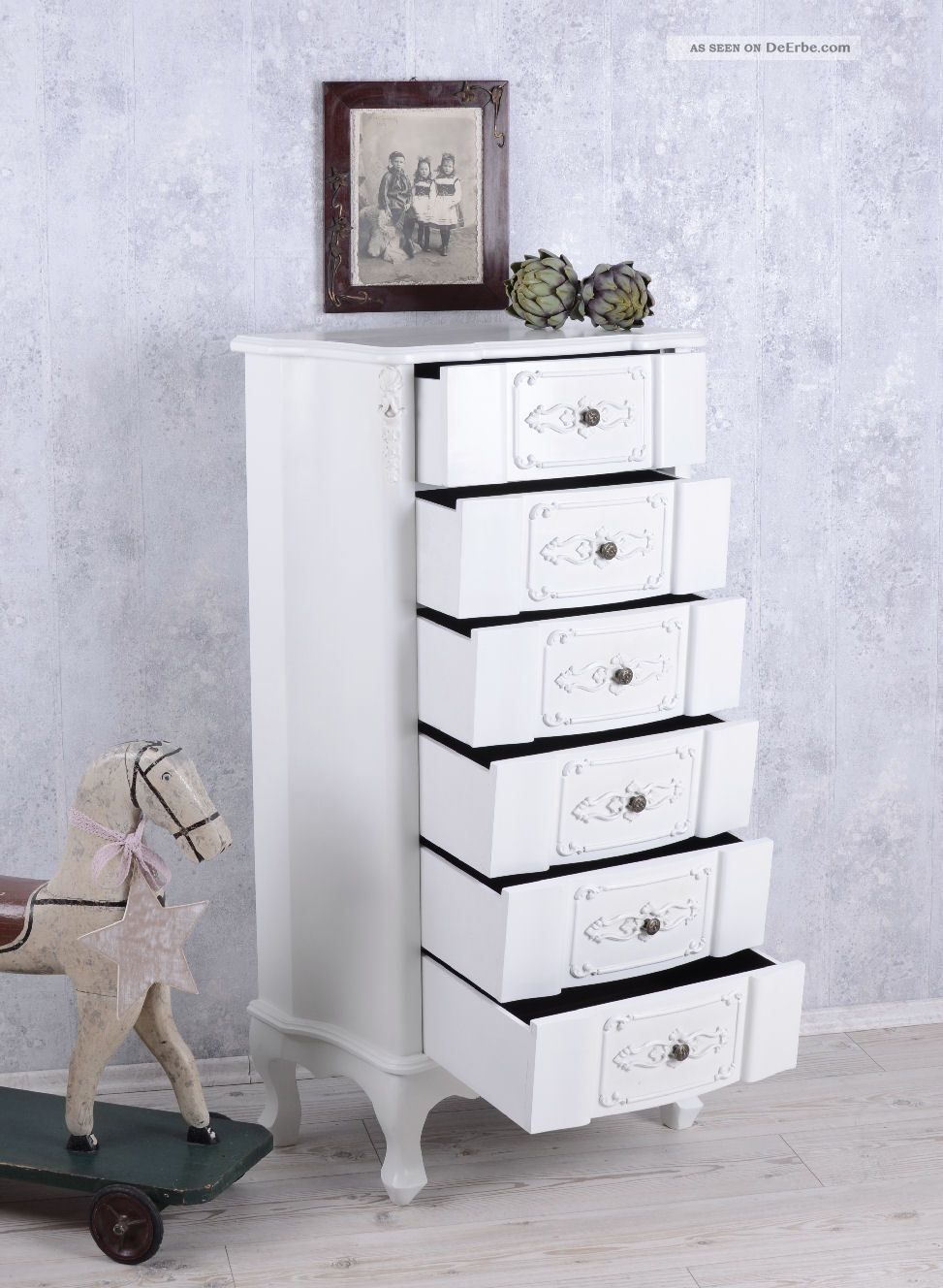 kommode weiss hochkommode shabby chic 6 schubladen vintage. Black Bedroom Furniture Sets. Home Design Ideas
