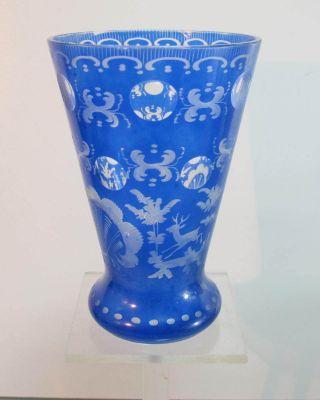 Vase Blau Geschliffen Trinkbecher Pokalglas Bechervase Bild