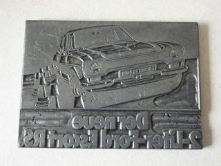 Metall Klischee Druckplatte - Druckstock Werbung 2literford Escort Rs 1960 - 1970er Bild