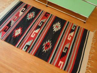 Vintage Teppich Kelim Kilim Aus Mexiko 100 Wolle 1960er Panton Eames Ära Bild