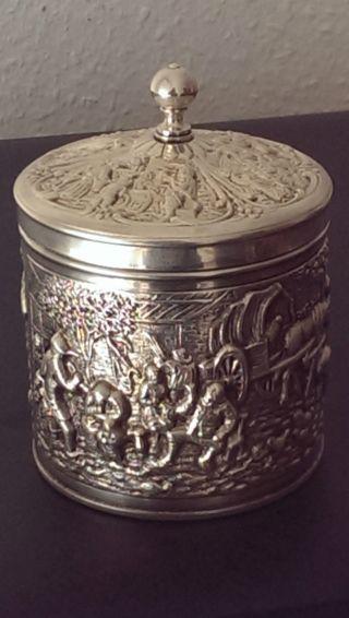 Deckeldose Bzw - Teedose Mit Reliefszenen,  H.  Hooukaas,  90 Silberauflage Bild