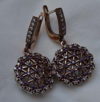 Antik Ohrstecker Ohrringe Silber Handarbeit 925 Mit Gold Earrings Orecchin Bild