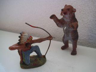 Elastolin Alter Indianer Und BÄr Bild
