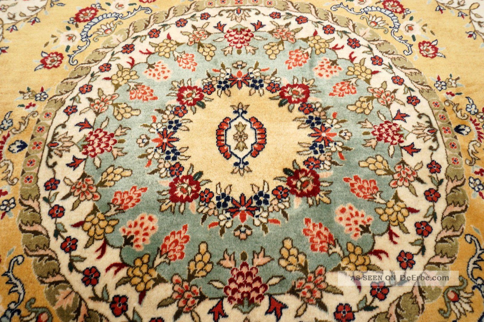 feiner orient teppich gelb 200 x 200 cm rund perserteppich alt old carpet rug. Black Bedroom Furniture Sets. Home Design Ideas