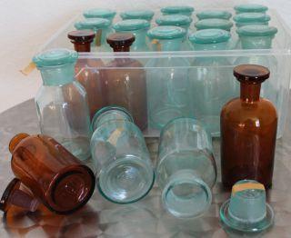20 Apothekerflasche Braunes&weißes Glas M.  Glasstöpsel Glasflasche Medizinflasche Bild