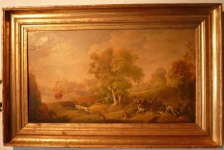 Jagdgemälde Öl Auf Kupfertafel Um 1780 Bild