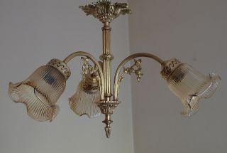 Antike,  Seltene Messing - Hängelampe Mit Drei Glaskelchen Bild