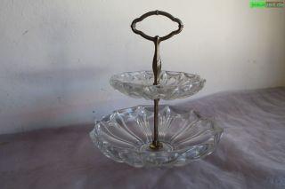 Etagere Schweres Dickrd Altes Glas 1314g Art Deco Gebäckteller Servierteller Bild