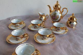 Mokkaservice 6 Personen 24 Karat Gold Handarbeit Bavaria Tirschenreuth 15 - Teilig Bild