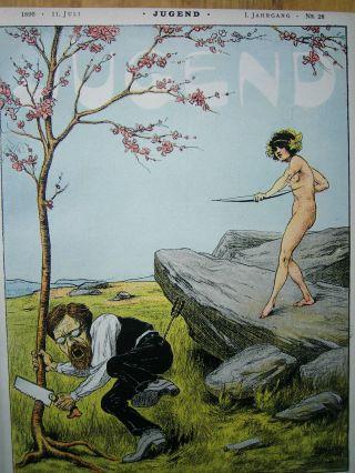 Jugend 28 - 1896 Jugendstil.  U.  A.  Fahrrad,  Radelnde Centauren / Lovis Corinth Bild