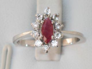 Art - Deco Silber Ring Rubin 10 X Bergkristall Design Bild