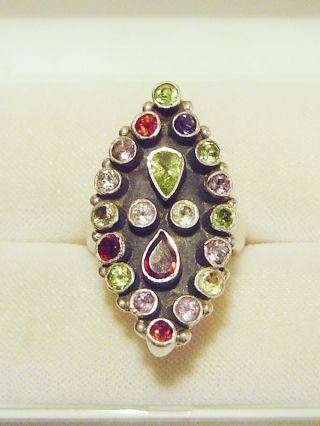 Wow - Riesiger Multicolor - Ring,  925er Silber / 18 Mm = Gr.  56,  5 / 15,  1 G Bild