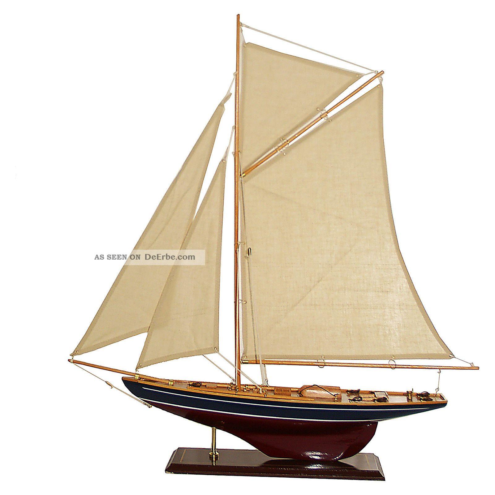 Segelboot Segelschiff Segelyacht Holz Blau Rot U Wei