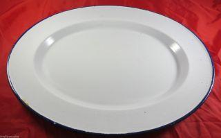 Uralte Große Fleischplatte Wurstplatte Aufschnitt - Teller Emaille Um 1925 Metzger Bild