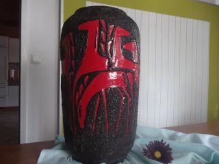 Fat Lava Vase Rot Bodenvase Keramik Pferd E 60er 70er German Pottery 546 50 Bild