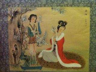 Schönes Feines Aquarell Aus Asien Vorkrieg Zwei Schönheiten Hohe Malqualität Bild