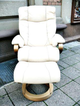 Lounge Relax Sessel & Fußteil Kippfunktion Leder Cremefarben Bild