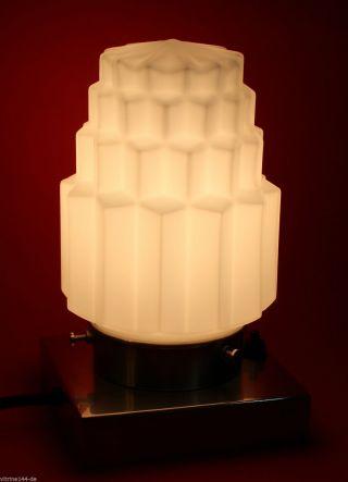 Art Deco Tischleuchte Stehlampe Skyscraper Opalglas Matt Vernickeltes Messing Bild