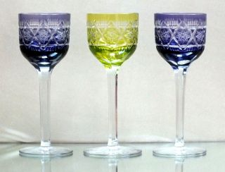 3 Art Deco Poschinger Römer Model 1185/2 Überfangglas Kristall,  Kunstglas Bild