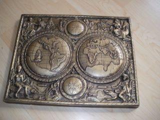 Reliefbild - Welt - Gibs,  Metall,  Masse??? Bild