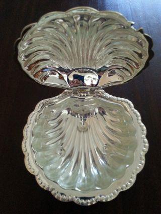 Art Déco Schale Zuckerdose Versilbert In Muschelform Mit Glaseinsatz Aus Nachlaß Bild