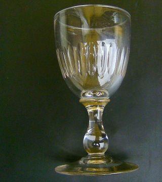Spätbiedermeier Altes Weinglas Kelchglas Mundgeblasen Schälschliff Höhe 13,  2 Cm Bild