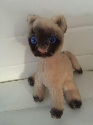 Alte Steiff Katze Cosy Siam Mit Blauen Glasaugen Bild