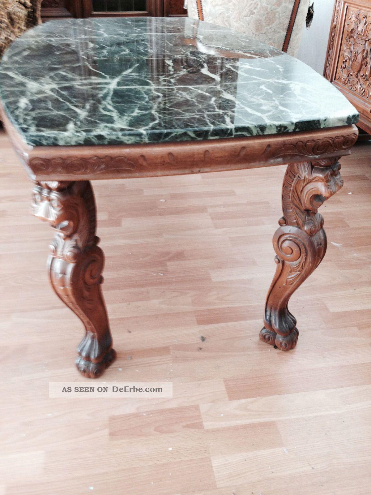 wohnzimmertisch antik mit marmorplatte