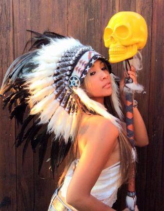 Indianer Kopfschmuck Federhaube Coiffe Indienne War Bonnet Little Big Horn Bild
