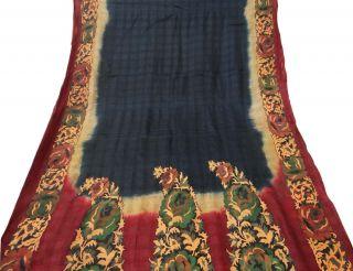 Indian Vintage Craft Saree Pure Khadi Printed Fabric Décor Paisley Black Sari Bild
