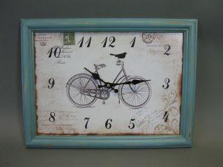 Große Wanduhr 40 Cm X 30cm Nostalgie Uhr Antikstil Fahrrad Bild