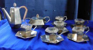 Argentor Werke Wien Jugendstil Art Deco Mokka Mocca Service Für 6 Personen Bild