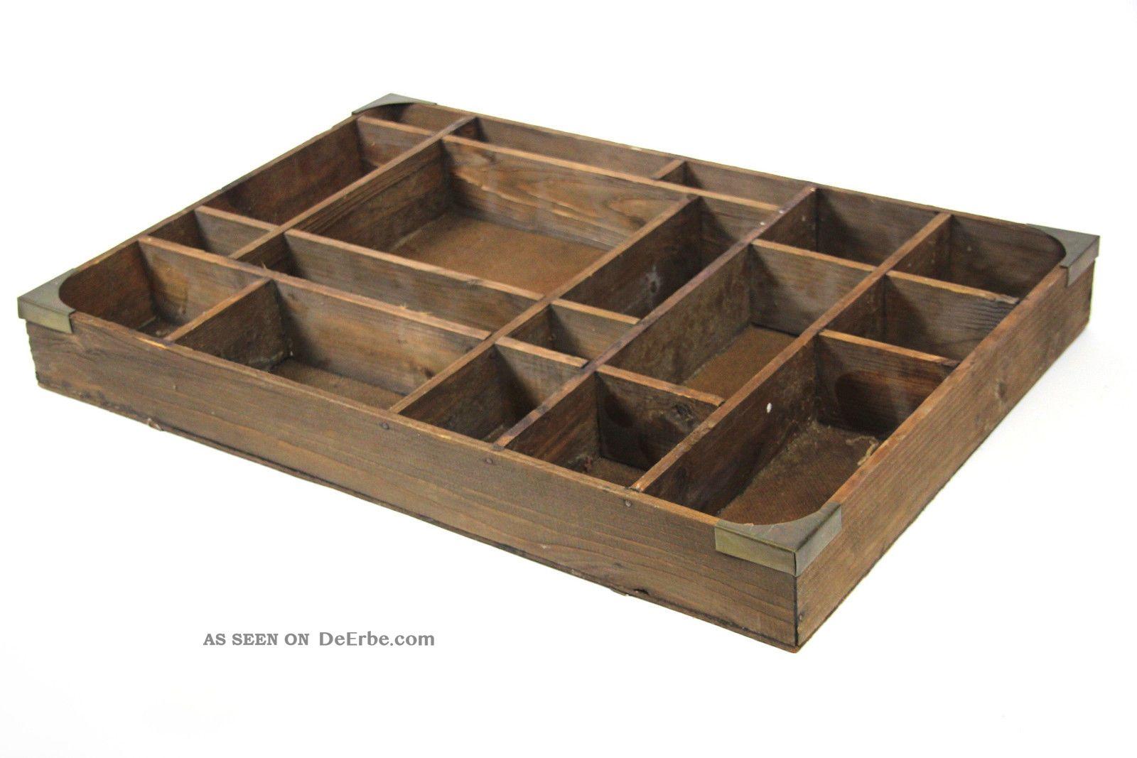 Sammelkasten Setzkasten Vitrine Holz Glas ~ Alter Holz Setzkasten 18 Versch Große Fächer Miniatur Vitrine