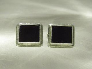 Antike Onyx - ManschettenknÖpfe,  835er Silber / Antikschmuck Bild