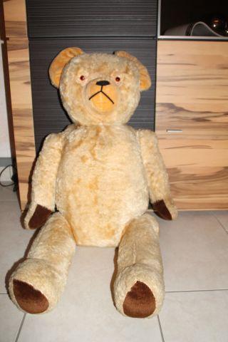 Alter Teddy,  Teddybär (sonneberg Teddy ??) Ca.  90 Cm,  Mit Brummstimme Bild