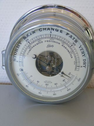Chrom Schatz Compensated Precision Barometer Schiffsbarometer Thermometer 18 Cm Bild