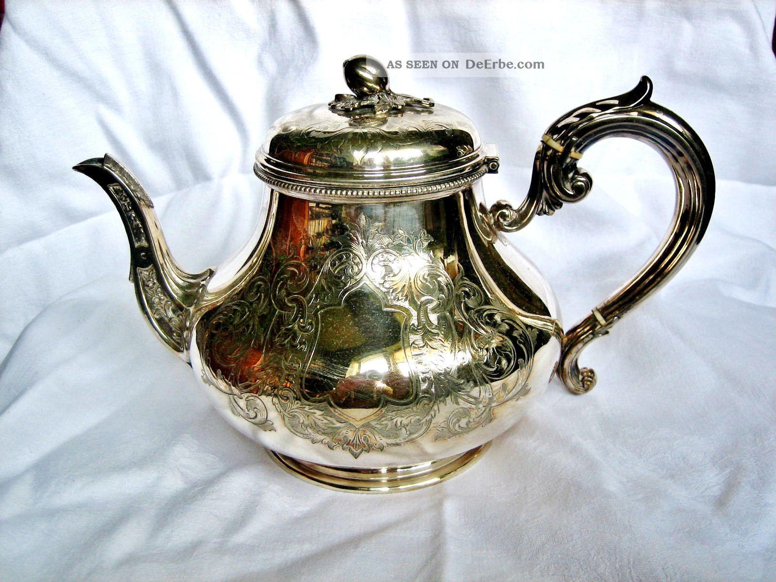 Floral Verzierte Teekanne Mit Silberauflage England Um 1880.  Am Boden Div.  Punzen Objekte vor 1945 Bild