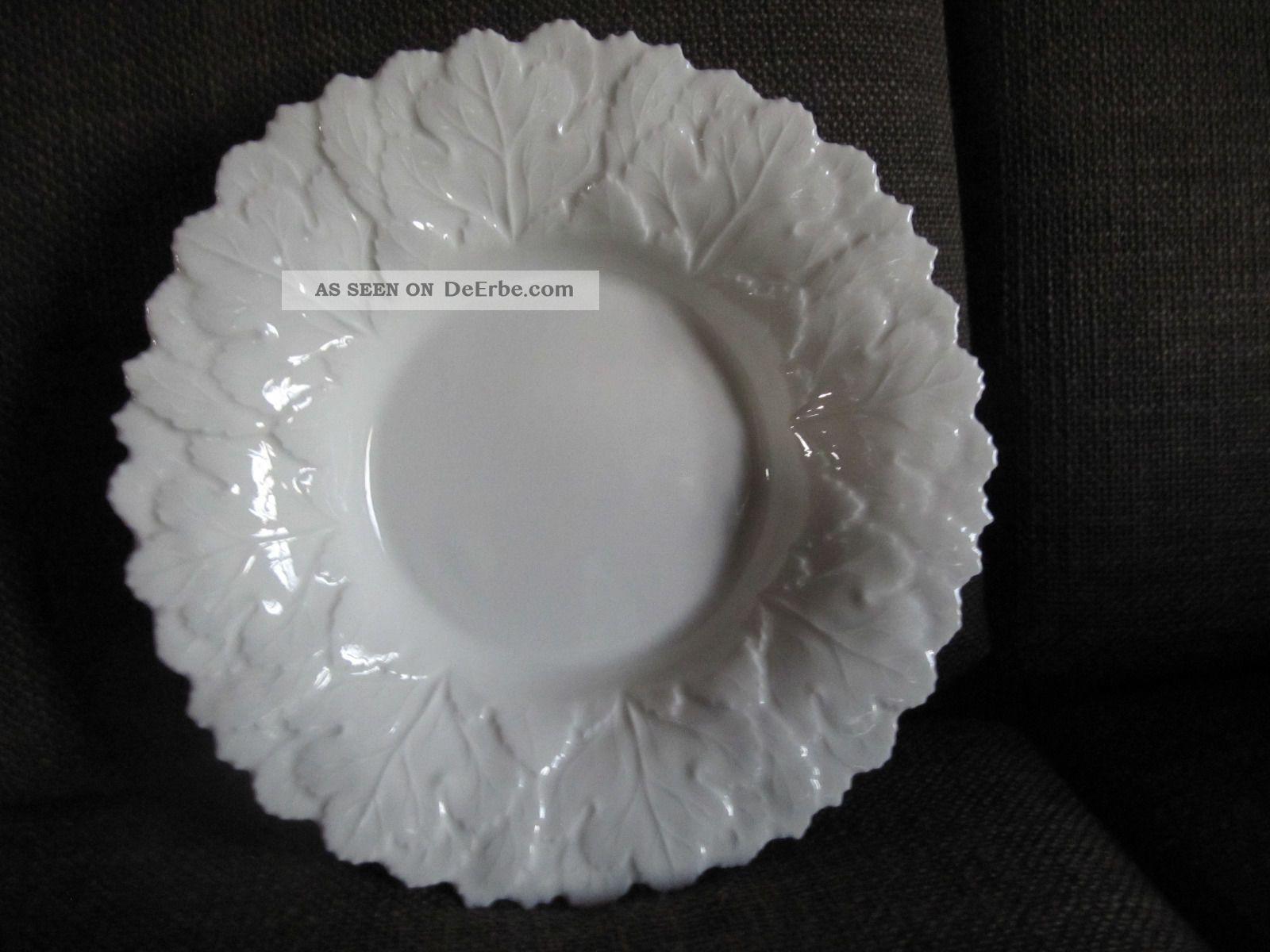 Große Schale Weiß Relief Blätter Fürstenberg - 31 Cm Nach Marke & Herkunft Bild
