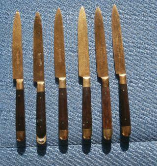6 Antike Obstmesser,  Stahl - Bronze,  Mit Holzgriffen,  Klingen Gepunzt Bild