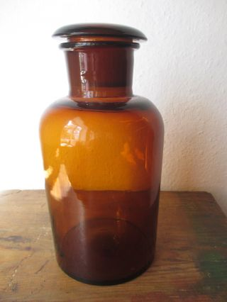 Apotheker Flasche 27 Cm Hoch Mit Eingeschliffenem Deckel Bild