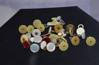 Sehr Viele Alte KragenknÖpfe Um 1850 - 1900 - Perlmutt / Email / Horn Bild