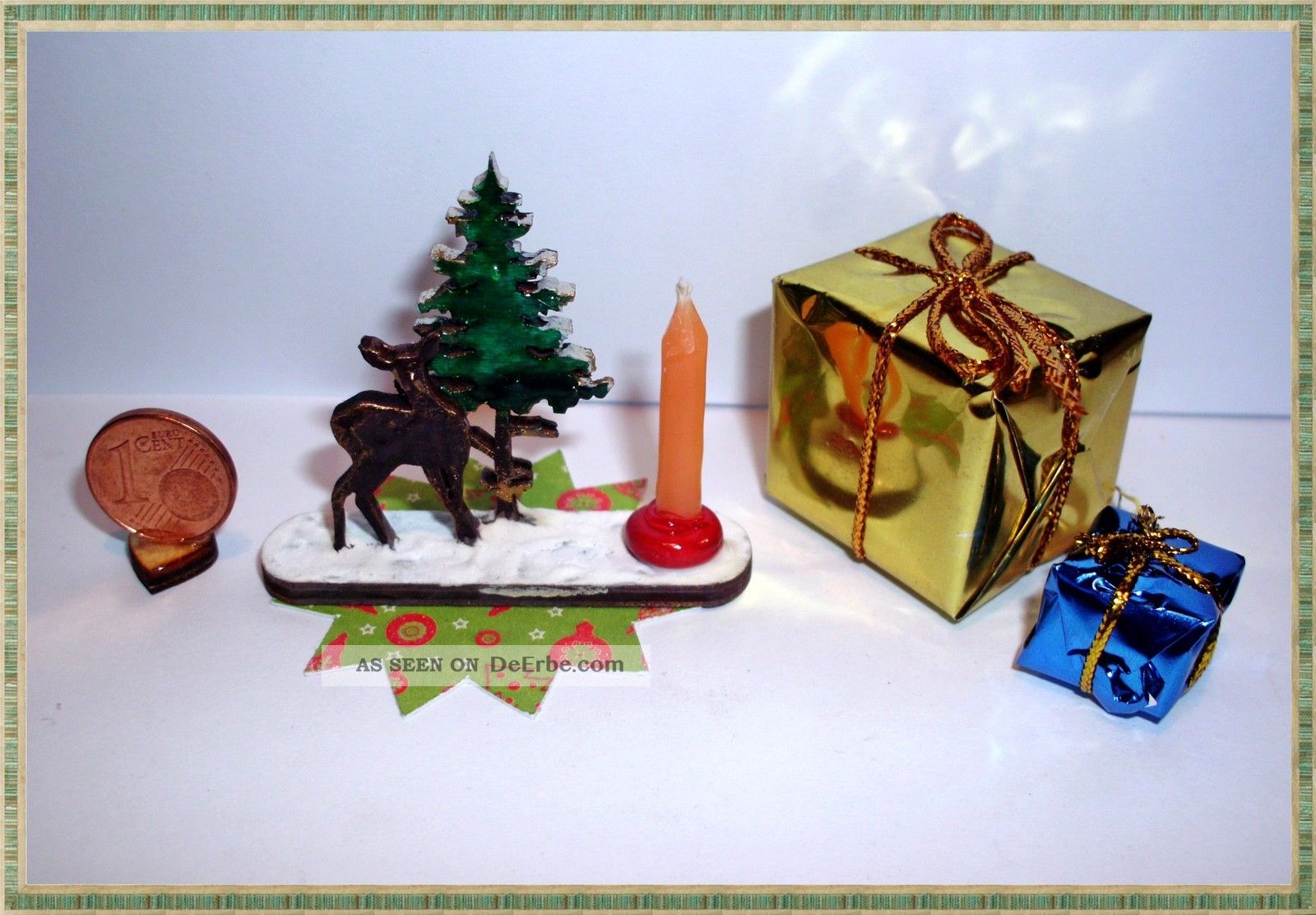 Kerzenhalter reh mit tannenbaum weihnachtsdeko handarbeit f puppenstube 1 12 10 - Tannenbaum kerzenhalter ...