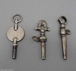 Um 1850/80: Drei Taschenuhrenschlüssel /uhrenschlüssel,  Aus Silber Bild