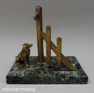 Um 1880/1910: Seltener Taschenuhrenständer,  Bronze & Marmor,  Hund Am Zaun Bild