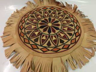 True Vintage Handmade Kissenbezug Cushion Pillow Leder Fransen Indianer Ethno Bild