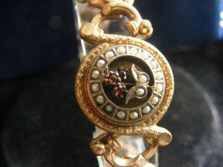 Antik Biedermeier Um 1860 Granat&saatperlchen Gold 18 Gr Armband Armreif Antique Bild